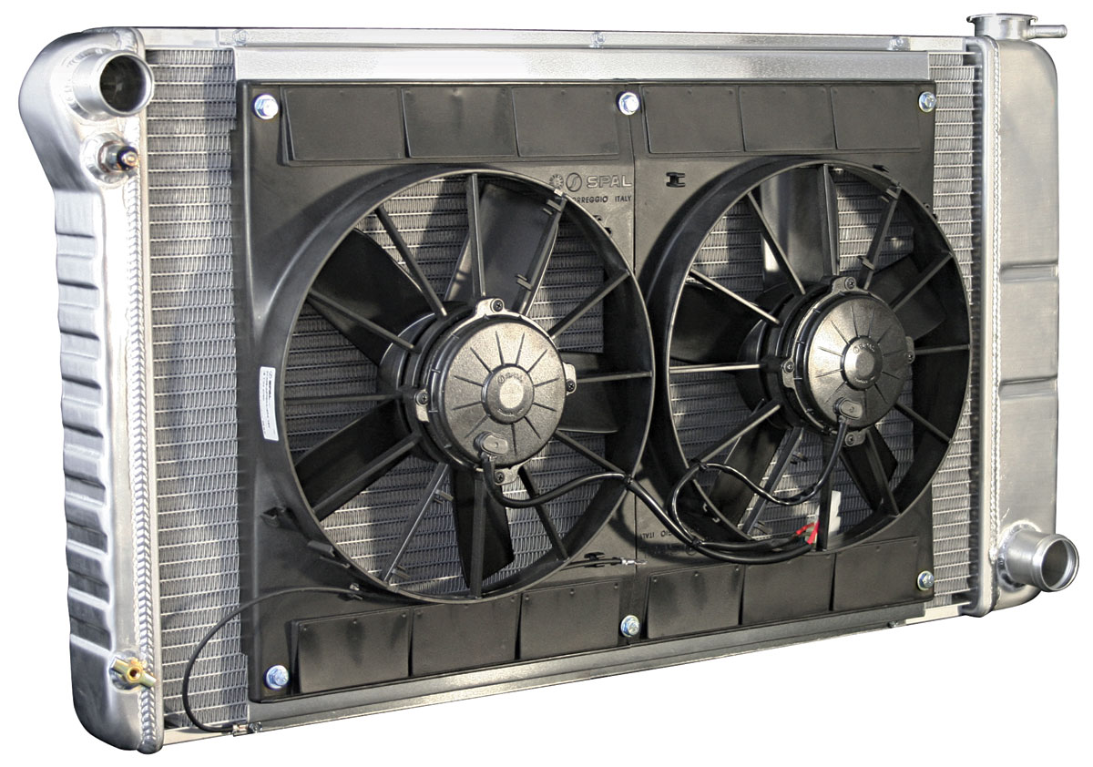 Photo of Radiators & Fan Combos, Aluminum, DeWitts Mt Small Block/BB, (driver inlet/pass. outlet)