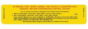 1970 Monte Carlo Radiator Support Decal: (CA, #3983360) California Evaporator Control System