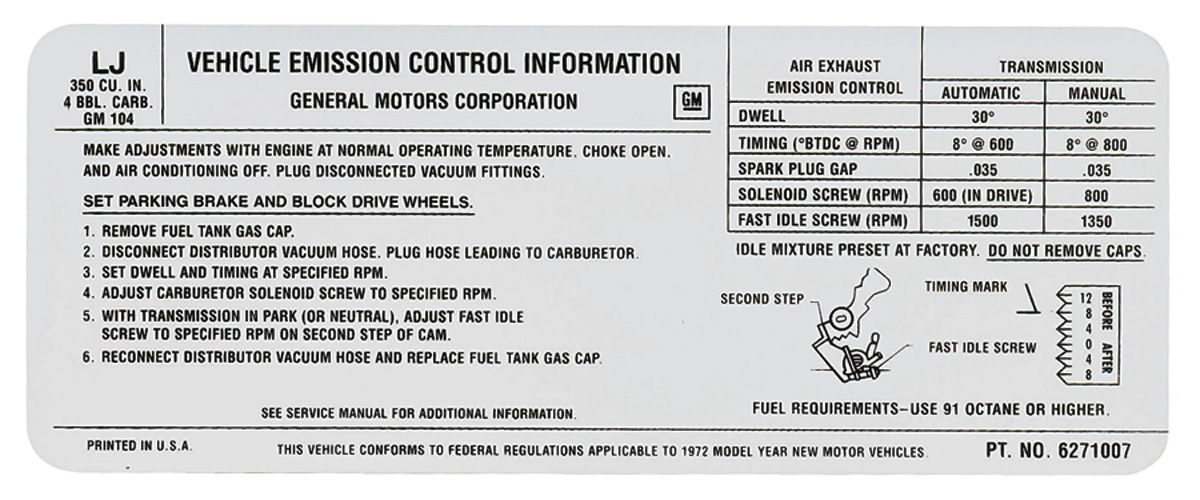 Photo of Radiator Support Decal 350 – 4V (LJ, #6271007)