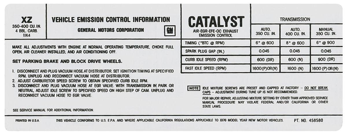 Photo of Radiator Support Decal 350 – 4V/400 – 4V (#458579)