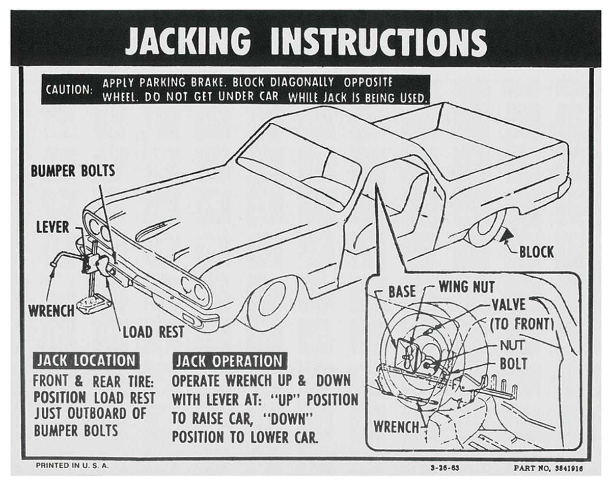 Photo of Jacking Instruction Decal El Camino (#3841916)
