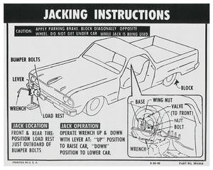 Jacking Instruction Decal El Camino (#3841916)