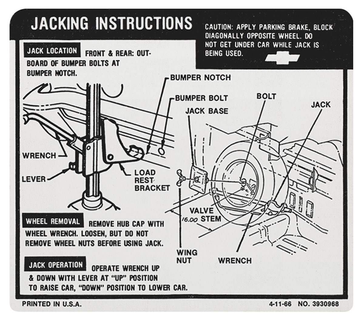 Photo of Jacking Instruction Decal El Camino (#3930968)
