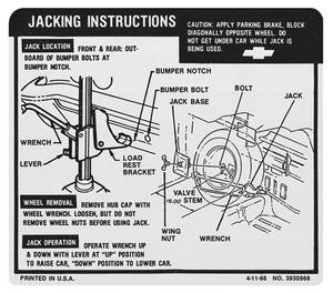 1967 Jacking Instruction Decal El Camino (#3930968)