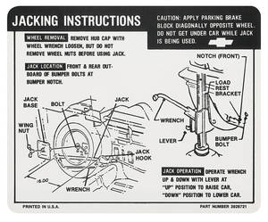 1968-69 Jacking Instruction Decal El Camino (#3926721)