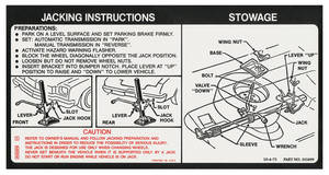 1973 Jacking Instruction Decal Chevelle (#331899)