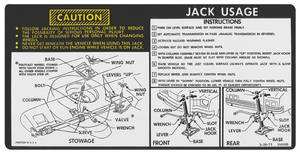 1974 Jacking Instruction Decal Chevelle (#340086)