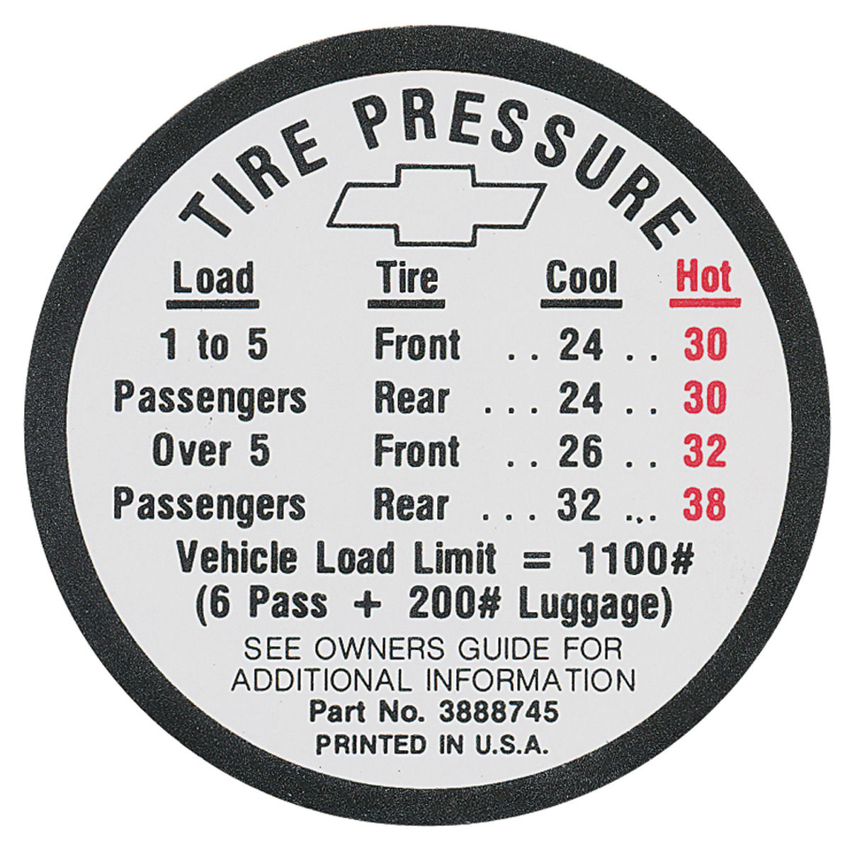 Photo of Tire Pressure Decal Chevelle (#3888745)