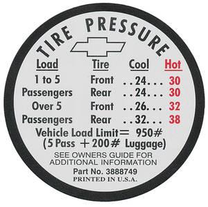 1966-1966 Chevelle Tire Pressure Decal Chevelle SS (#3888749)
