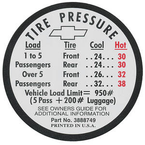 1966 Tire Pressure Decal Chevelle SS (#3888749)