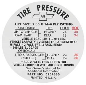 1967 Tire Pressure Decal Chevelle (#3934880)