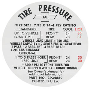 1967 Tire Pressure Decal Chevelle (#3934880)