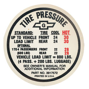 1967 Tire Pressure Decal Chevelle w/AC (#3917572)