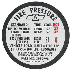1967-1967 Chevelle Tire Pressure Decal Chevelle SS (#3910996)