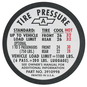 1967 Tire Pressure Decal Chevelle SS (#3910996)