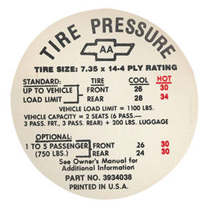 1968 Tire Pressure Decal Chevelle (AA, #3934038)