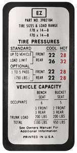 1970 Tire Pressure Decal Chevelle (EZ, #3982184)