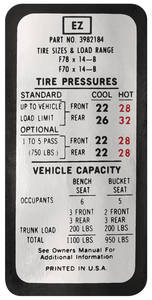 1970 Tire Pressure Decal Chevelle (EZ, #3982184)