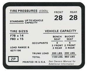 1972 Tire Pressure Decal Chevelle SS (ZP, #6271196)