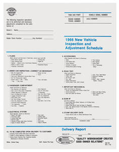 1966 Chevelle Inspection Sheet, New Car Pre-Delivery