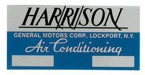 1964 El Camino Air Conditioning Box Decal, Harrison