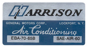 1965 El Camino Air Conditioning Box Decal, Harrison EBA-70-65B