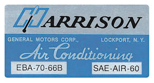 1966 El Camino Air Conditioning Box Decal, Harrison EBA-70-66B