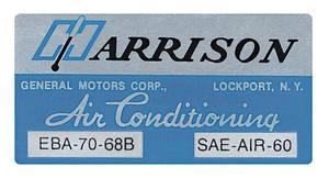 1968-1968 Cutlass Air Conditioning Box Decal, Harrison EBA-70-68B