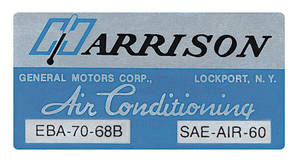 1968 Cutlass/442 Air Conditioning Box Decal, Harrison EBA-70-68B