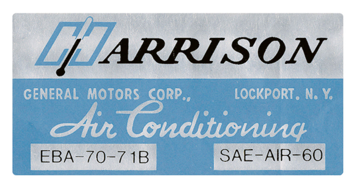 Photo of Air Conditioning Box Decal, Harrison EBA-70-71B