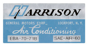 1971 Cutlass Air Conditioning Box Decal, Harrison EBA-70-71B