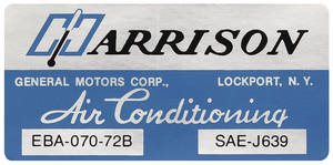 1972 El Camino Air Conditioning Box Decal, Harrison EBA-70-72B