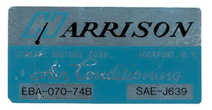 1974 Cutlass/442 Air Conditioning Box Decal, Harrison EBA-70-74B