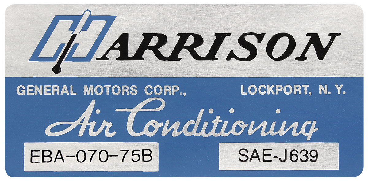 Photo of Air Conditioning Box Decal, Harrison EBA-70-75B