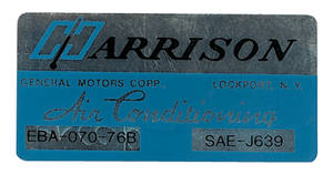 1976 Monte Carlo Air Conditioning Evaporator Box Decal, Harrison (EBA-70-76B)
