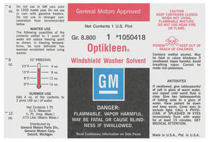 1964-67 Chevelle Washer Bottle Label Optikleen (#1050418)
