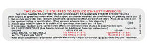 1969 El Camino Radiator Support Decal 427/425, 430, 435 HP (CN, #3959136)