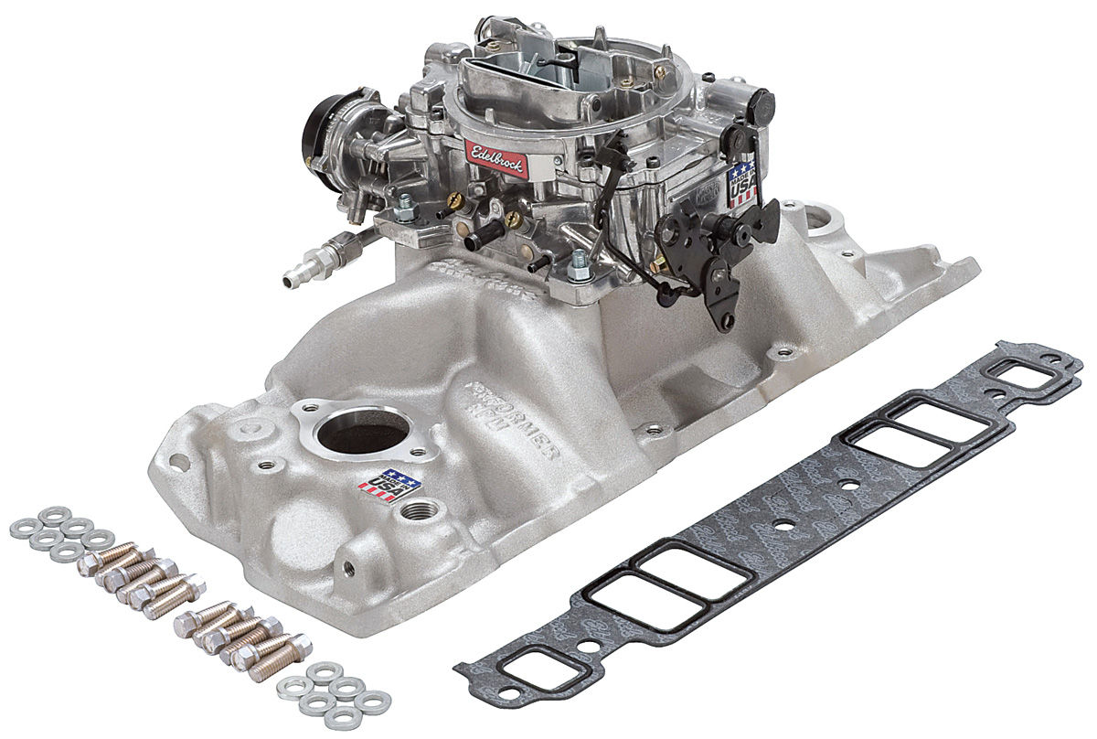 Photo of Intake Manifold & Carburetor Kit; Single-Quad Sb W/Thunder Avs 800 Cfm Carb RPM Air-Gap Manifold