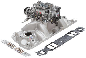 1978-88 Malibu Intake Manifold & Carburetor Kit; Single-Quad Small-Block Chevrolet W/Vortec Or E-Tec Heads Performer Manifold/Thunder AVS 650cfm Carb, by Edelbrock
