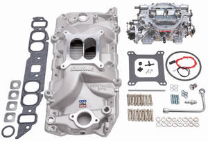 1978-88 Monte Carlo Intake Manifold & Carburetor Kit; Single-Quad Bb W/Thunder Avs 800 Cfm Carb Performer RPM Manifold (Oval)