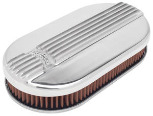 1954-1976 Cadillac Air Cleaner Assembly (Classic Series) Oval, 4-Bbl (Polished), by Edelbrock