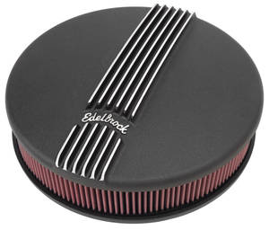1961-1973 LeMans Air Cleaner Assembly, Classic Series Round, 4-Bbl Black, by Edelbrock