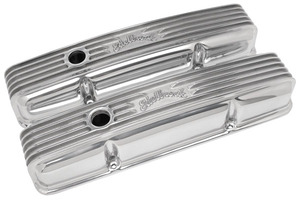 1978-88 Malibu Valve Covers, Classic Aluminum (Small-Block) w/o Holes, by Edelbrock