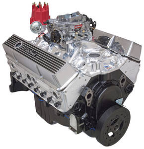 1978-88 Malibu Crate Engine, Edelbrock Performer Performer Air-Gap Manifold & 650 Cfm Thunder Series Avs Carburetor w/o Water Pump, Satin