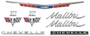 1967-1967 Chevelle Nameplate Kit, 1967 Chevelle Malibu 327 Malibu