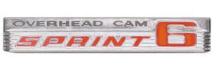 "1966-1966 LeMans Fender Emblem, 1966 ""Overhead Cam Sprint 6"""