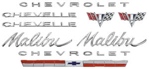 1964-1964 Chevelle Nameplate Kit, 1964 Chevelle 327 Malibu