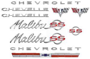 1964-1964 Chevelle Nameplate Kit, 1964 Chevelle 327 Malibu, SS