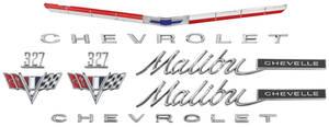 1965-1965 Chevelle Nameplate Kit, 1965 Chevelle 327 Malibu