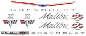 1965-1965 Chevelle Nameplate Kit, 1965 Chevelle 327 Malibu, SS